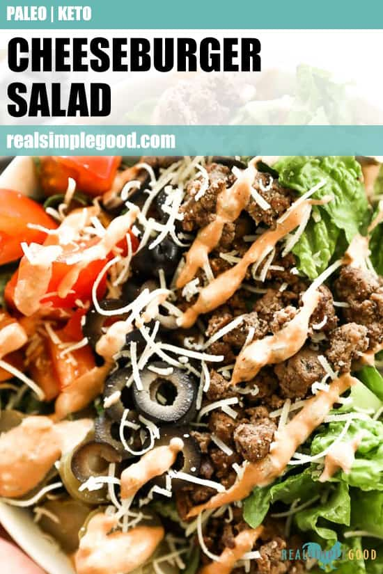 Close up of cheeseburger salad with text overlay at top for pinterest.