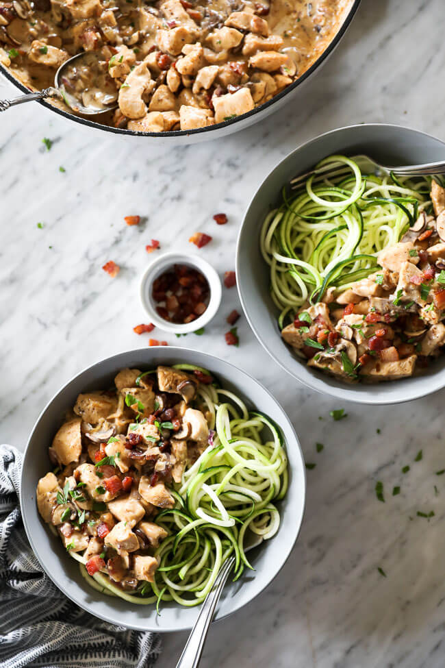 Two bowls of chicken with creamy mushroom sauce served over zoodles with forks dug in. Extra bacon and parsley sprinkled about.