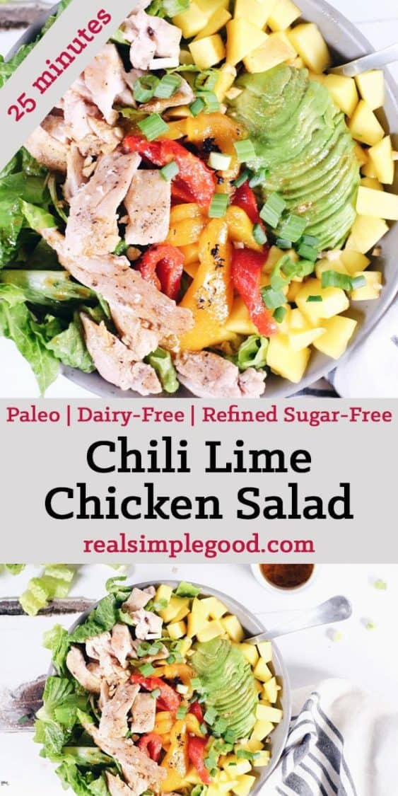 The struggle is real when it comes to getting stuck in a salad rut. This chili lime chicken salad will have you loving salads again! Paleo, Gluten-Free, Dairy-Free + Refined Sugar-Free. | realsimplegood.com