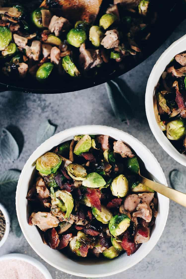 This Paleo + Whole30 Creamy Bacon Chicken and Brussels Sprouts Skillet is one that you will add to your regular rotation. It's full of dairy-free, creamy goodness that pairs so well with the salty bacon! #paleolife #whole30 #recipe #dairyfree #glutenfree | realsimplegood.com