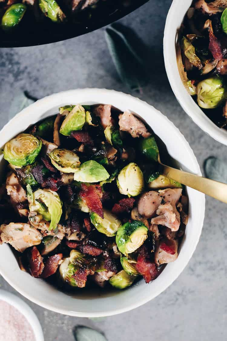 This Paleo + Whole30 Creamy Bacon Chicken and Brussels Sprouts Skillet is one that you will add to your regular rotation. It's full of dairy-free, creamy goodness that pairs so well with the salty bacon! #paleolife #whole30 #recipe #dairyfree #glutenfree   realsimplegood.com