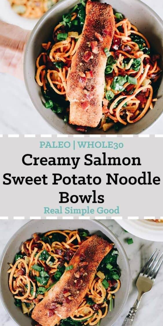 Creamy salmon sweet potato noodle bowls long pinterest image with text