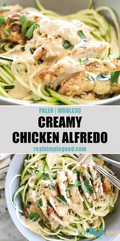 Two close up images of creamy chicken alfredo in a bowl with text overlay in the middle.
