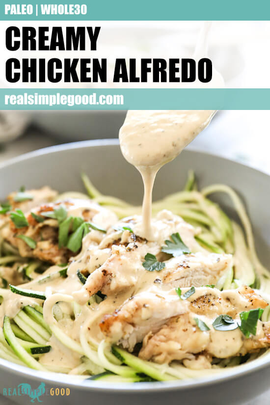 Close up angled image of spooning sauce over creamy chicken alfredo in a bowl with text overlay at top.