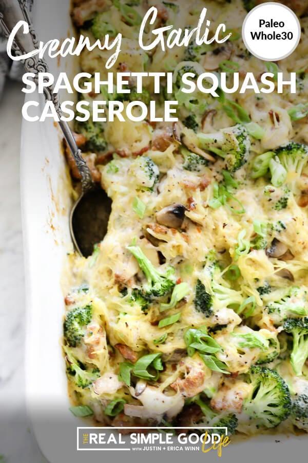 Casserole with broccoli, sausage, spaghetti squash and mushrooms