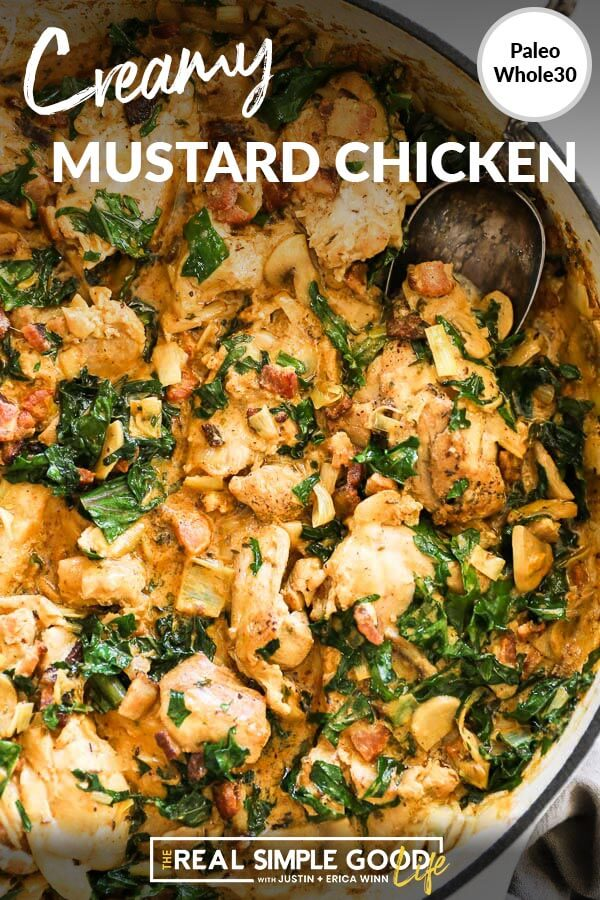 Overhead close up vertical image with text overlay at top. Creamy mustard chicken in skillet with serving spoon.