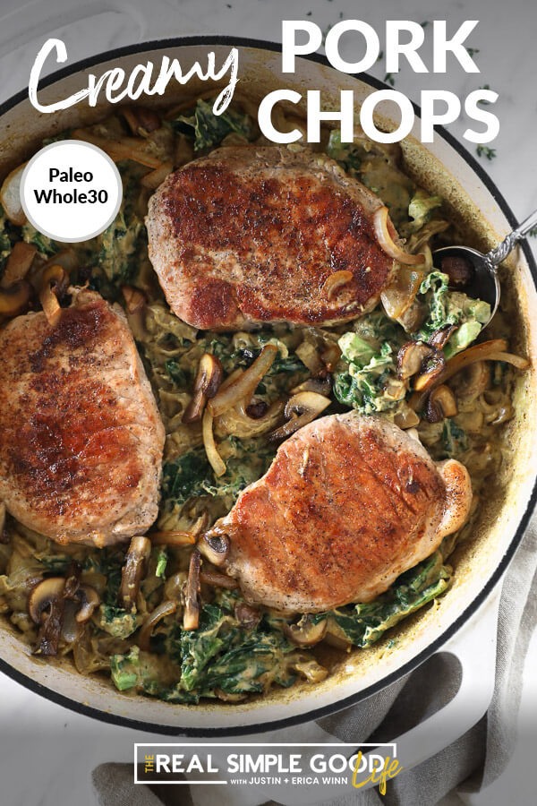 Vertical image with text overlay at top. Pork chops in a creamy sauce in a skillet with a serving spoon.
