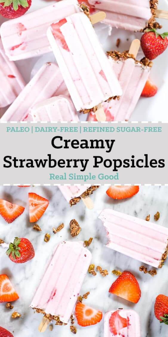 Creamy strawberry popsicles with granola on the bottom and fresh strawberries long pin