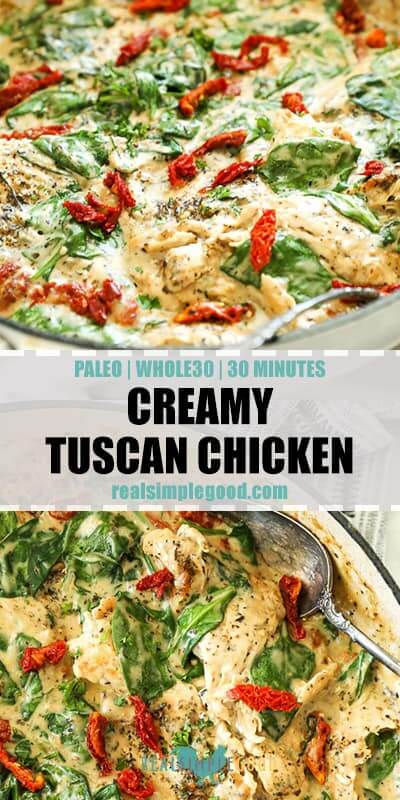 Angled vertical image with text overlay in middle for Pinterest. Creamy tuscan chicken in skillet overhead shot at bottom.
