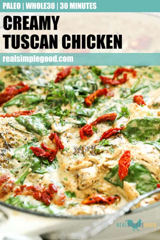 Angled vertical image with text overlay at top for Pinterest. Creamy tuscan chicken in skillet.