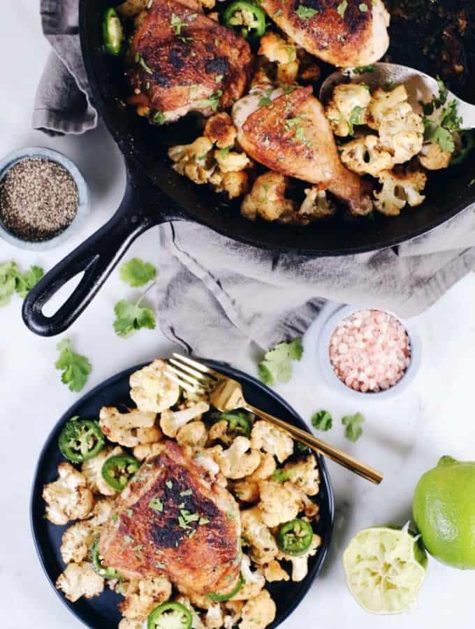 Crispy Chicken Thighs with Zesty Cauliflower (Paleo, GF + Whole30)