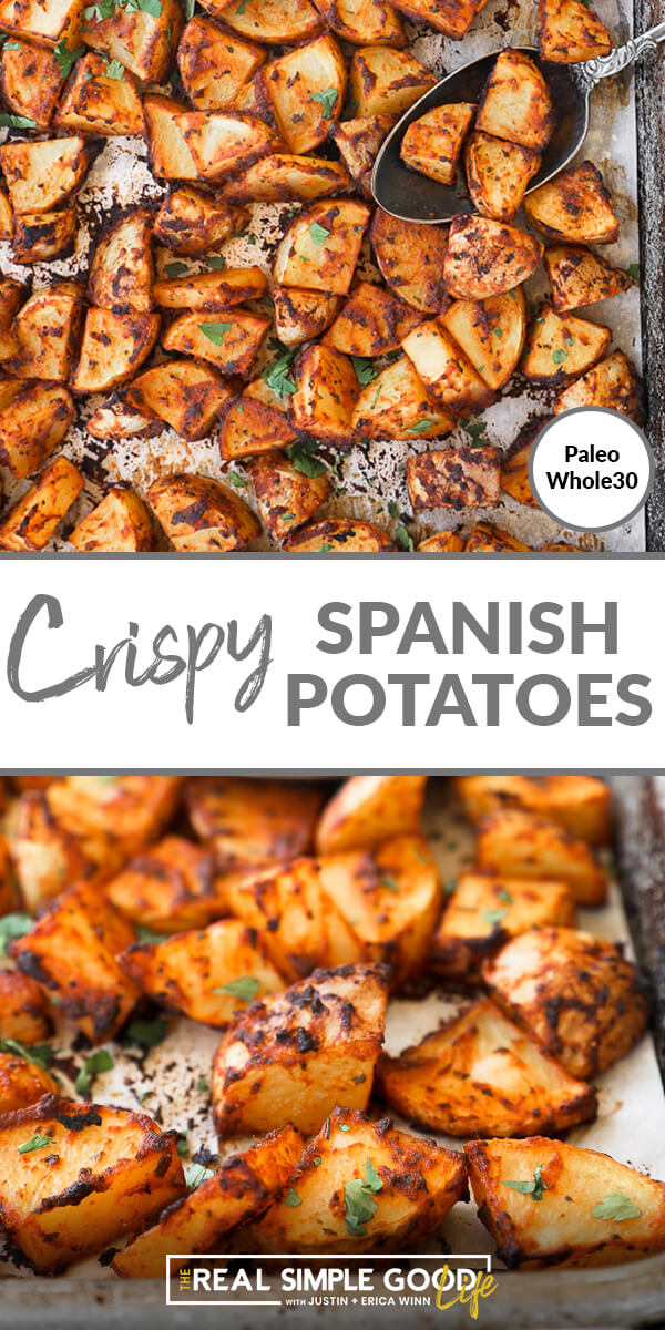 Split image with text in middle. Roasted potatoes on a sheet pan on top and close up angle of crispy potatoes on sheet pan on bottom