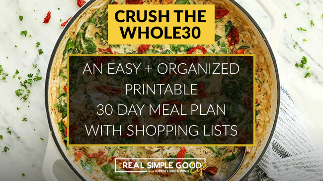 Creamy tuscan chicken in skillet with crush the whole30, an easy + organized printable 30 day meal plan with shopping lists text overlay