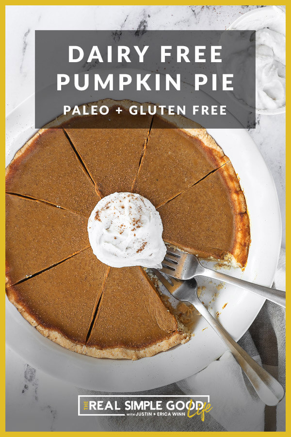 Image with text overlay at top. Image of pie in dish with a piece removed and two forks dug in. Topped with whipped coconut cream and cinnamon.