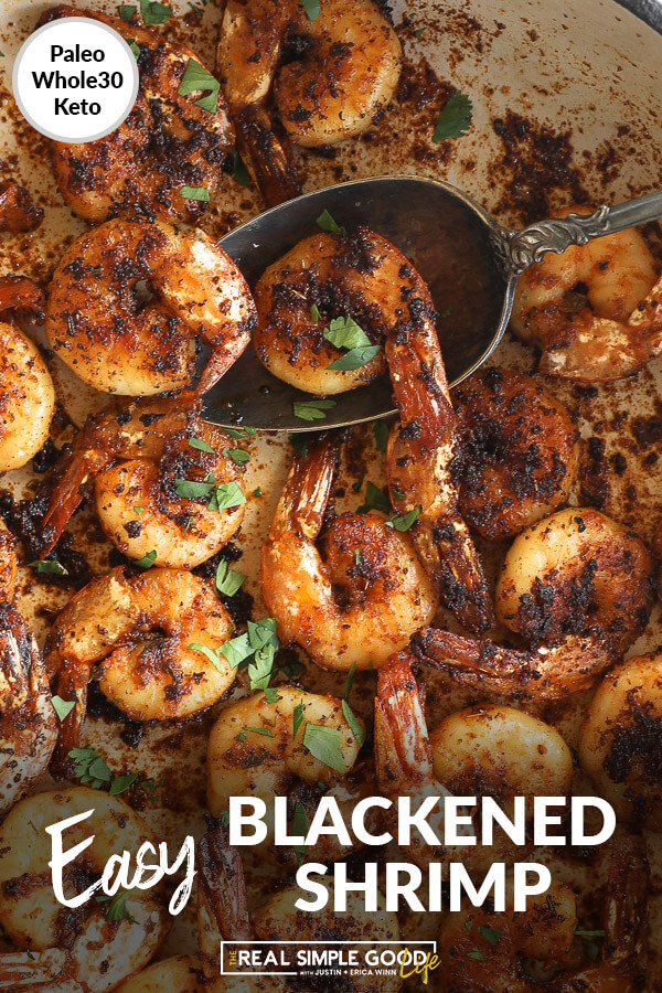 Close up image of blackened shrimp in skillet with spoon scooping some out. Text overlay at bottom.