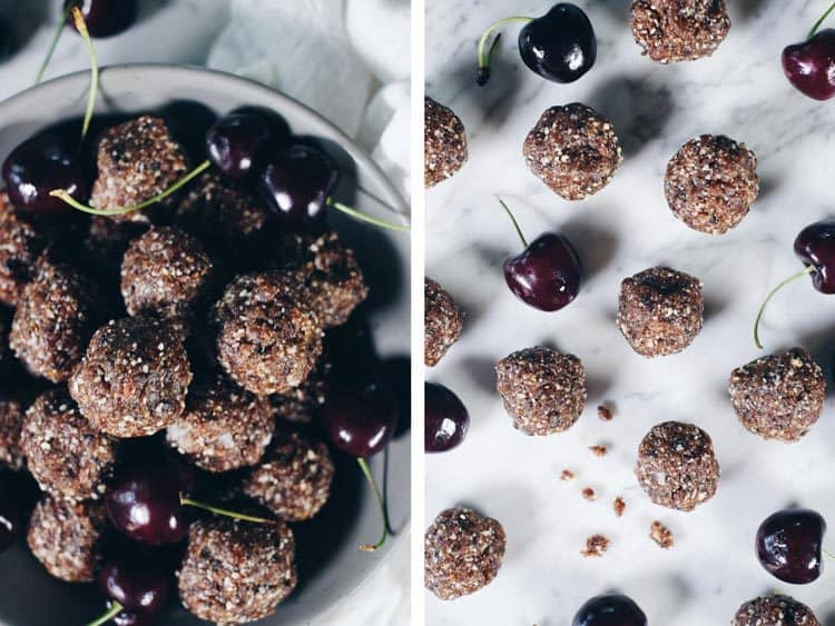 Snacks like these easy cherry Paleo energy balls are great! Just grab a couple and go! You'll have a quick and tasty bite to keep you fueled! Paleo, Gluten-Free, Refined Sugar-Free. | realsimplegood.com