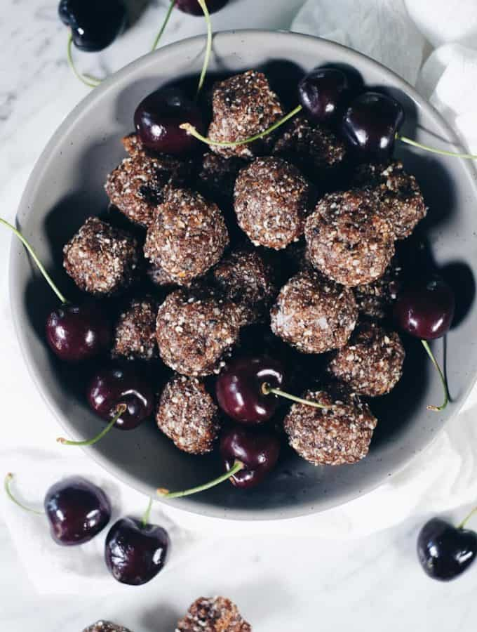 Easy Cherry Paleo Energy Balls (GF, Grain-Free + Refined Sugar-Free)