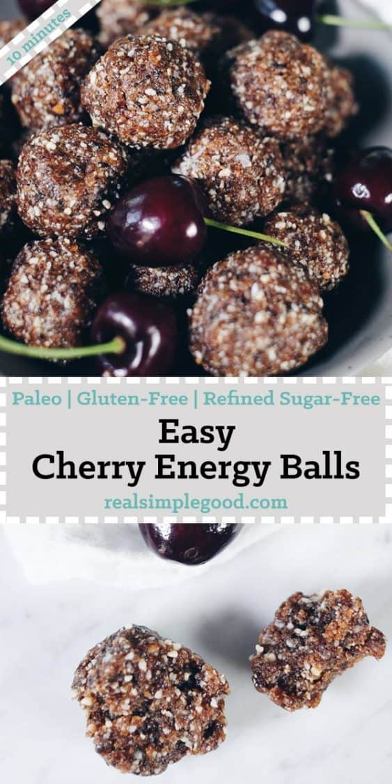 Snacks like these easy cherry Paleo energy balls are great! Just grab a couple and go! You'll have a quick and tasty bite to keep you fueled! Paleo, Gluten-Free, Refined Sugar-Free.   realsimplegood.com