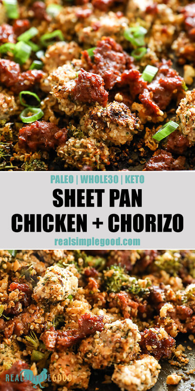 Two close up images of easy chicken and chorizo bake with text overlay in the middle.