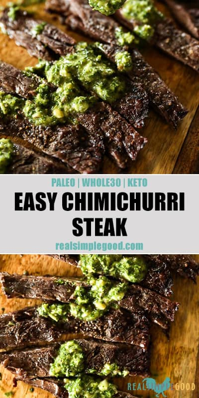 Two close up images of chimichurri steak with sauce drizzled on top. Text overlay in the middle for pinterest.