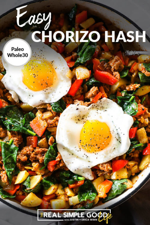 Close up vertical image of easy chorizo hash in skillet with fried eggs on top. Text overlay at top.