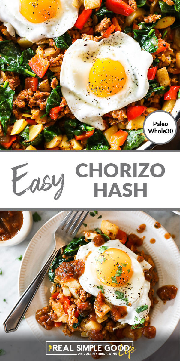 Easy chorizo hash split image. Eggs in skillet on top and hash on a plate on the bottom. Text in middle.