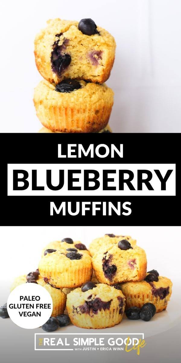 Vertical split image with text overlay in the middle. Top image is stack of muffins. Bottom image of muffins on a cake stand.