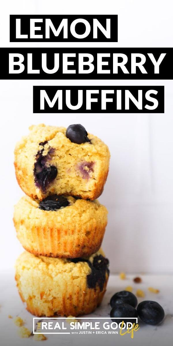 Vertical image with text overlay at the top. Image of three gluten free lemon blueberry muffins stacked on top of one another. Top muffin has a bite taken out of it.