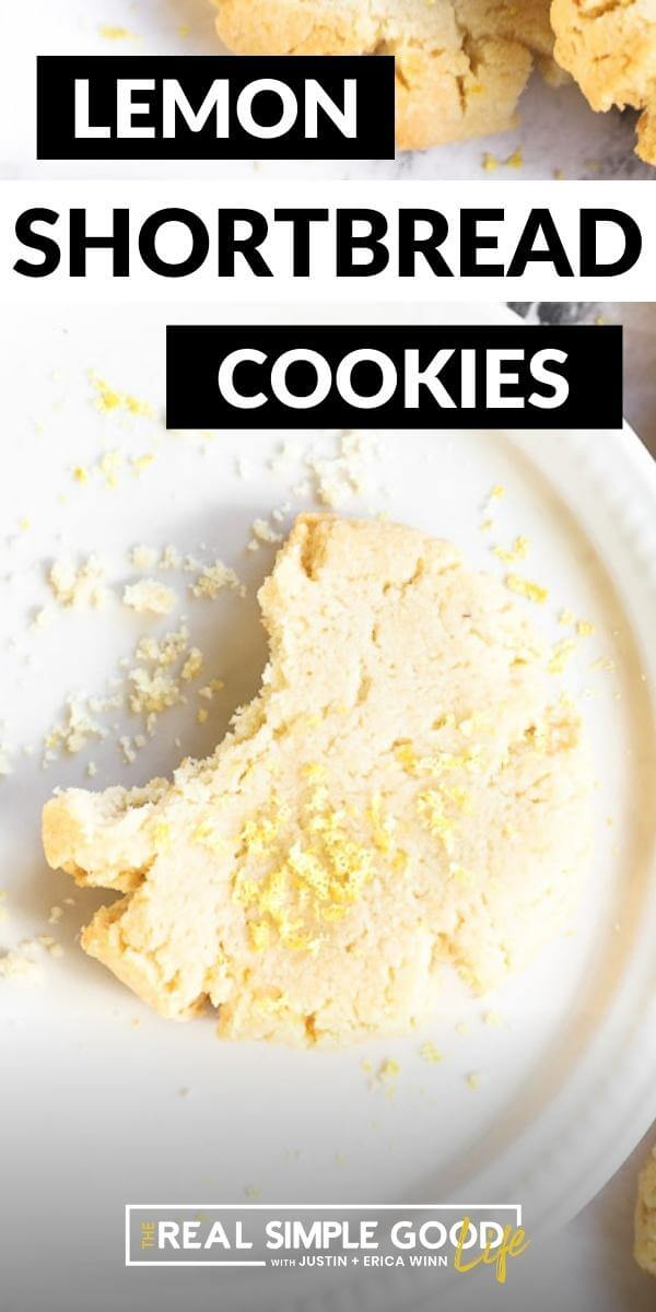 Long vertical image with text overlay at the top. Image of one lemon cookie on a plate with a bite taken out of it.