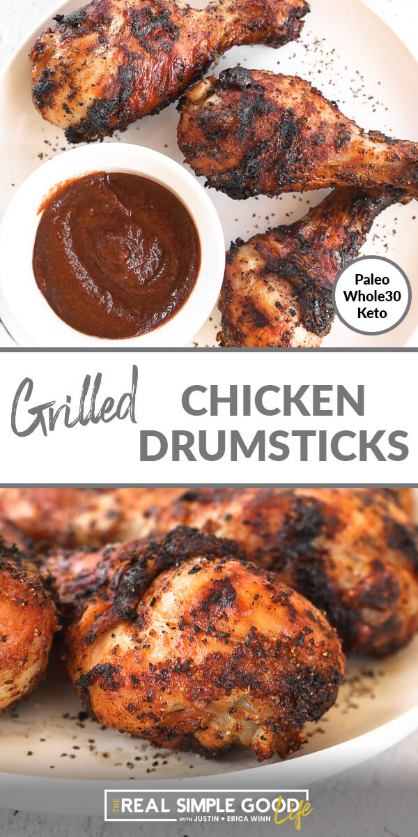 Split image with text in middle. Overhead shot of drumsticks on a plate on top and close up angle image of grilled chicken legs on bottom