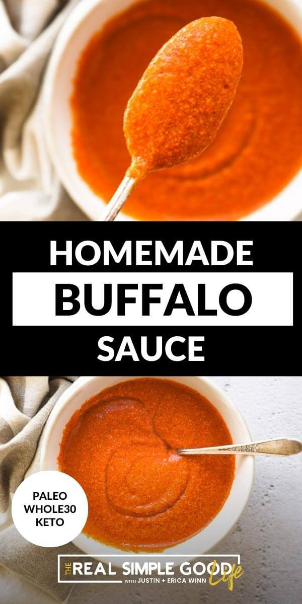 Split image with text in middle. Spoonful of sauce on top and ramekin full of sauce on bottom.
