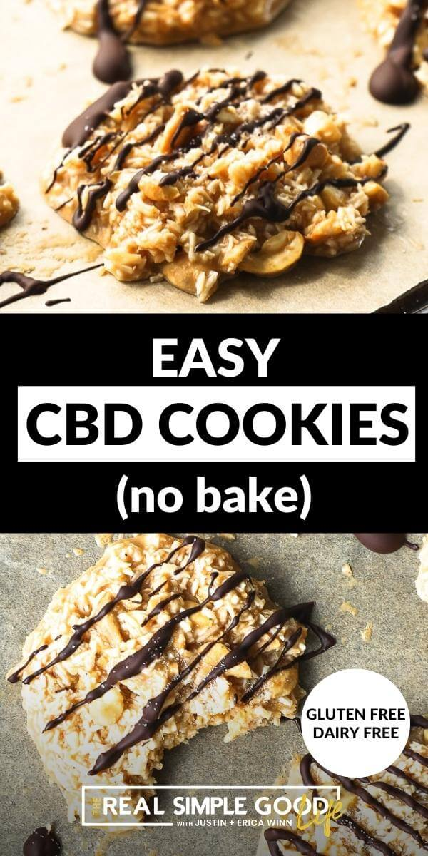 Vertical split image with text overlay in the middle. Top image is angled pic of cbd cookie with chocolate drizzled on top. Bottom image is overhead pic of one cookie with a bite taken out of it.