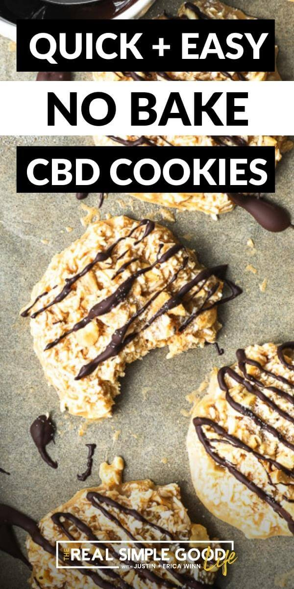 Vertical image with text overlay at the top. Image of cbd cookies on a baking sheet and one cookie has a bite taken out of it. Cookies are drizzled with chocolate on top.