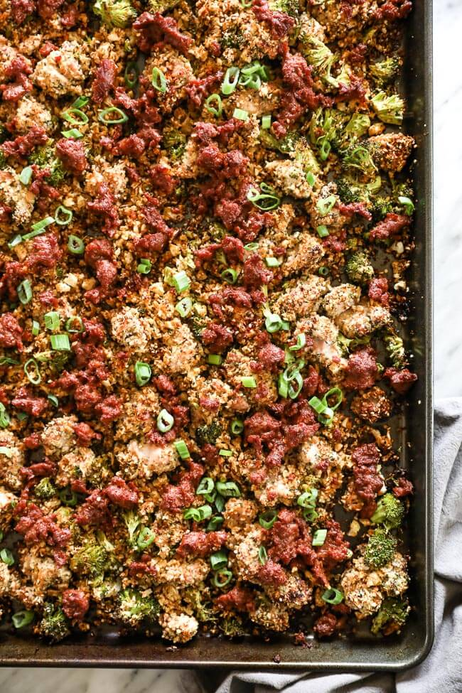Easy chicken and chorizo bake on sheet pan overhead vertical shot