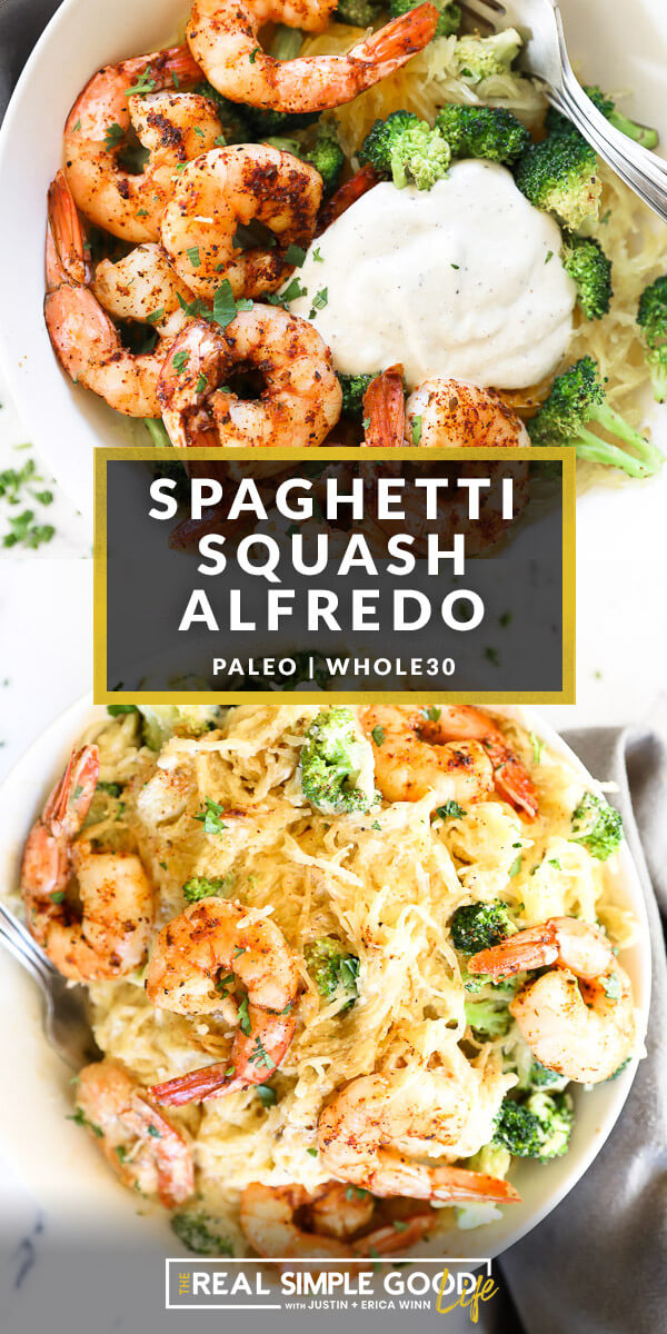 Vertical split image with text overlay in the middle. Top image of spaghetti squash shrimp and broccoli in a bowl with a big pour of alfredo sauce. Bottom image of a bowl full of spaghetti squash alfredo all mixed up.