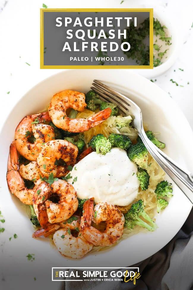 Easy Shrimp + Broccoli Spaghetti Squash Alfredo