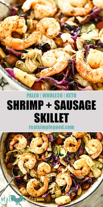 Two close up images of shrimp and sausage skillet  meal with text overlay in the middle for pinterest.
