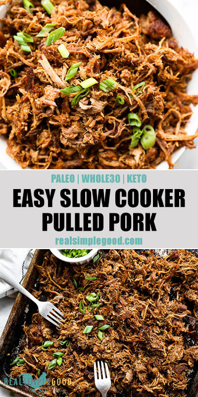 Easy slow cooker pulled pork split image with text in middle. In a bowl on top and in a sheet pan with forks on the bottom.