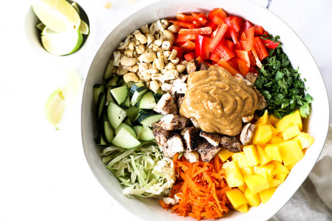 "Horizontal overhead image of thai chicken salad in a large serving bowl with all the ingredients separated out - cabbage, cucumber, cashews, red bell pepper, cilantro, mango, carrots, chicken and a ""peanut"" sauce."