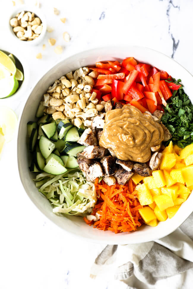 Vertical overhead image of thai chicken salad in a large serving bowl with all the ingredients separated out - cabbage, cucumber, cashews, red bell pepper, cilantro, mango, carrots, chicken and a peanut sauce.