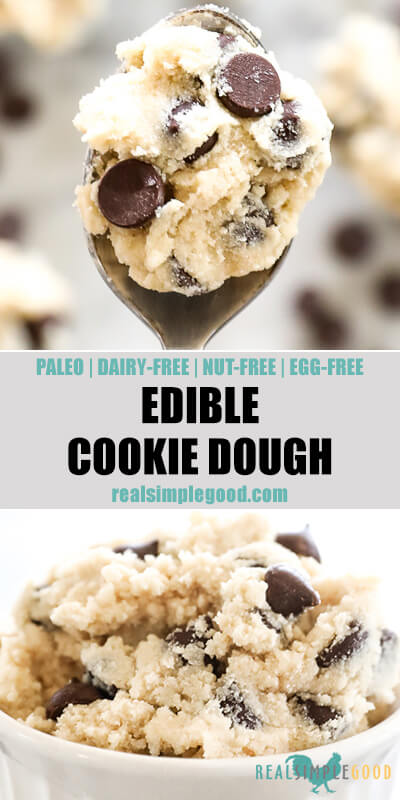 Two close up images of edible cookie dough with text in the middle. Top image of edible cookie dough on a spoon and bottom image in a ramekin.
