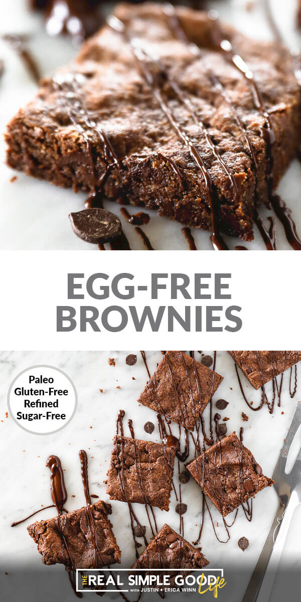 Vertical split image of egg-free brownies with text overlay in the middle. Top image is angled close up of one square with chocolate sauce drizzled on top. Bottom image is overhead of squares laid out on marble with chocolate drizzled on top.