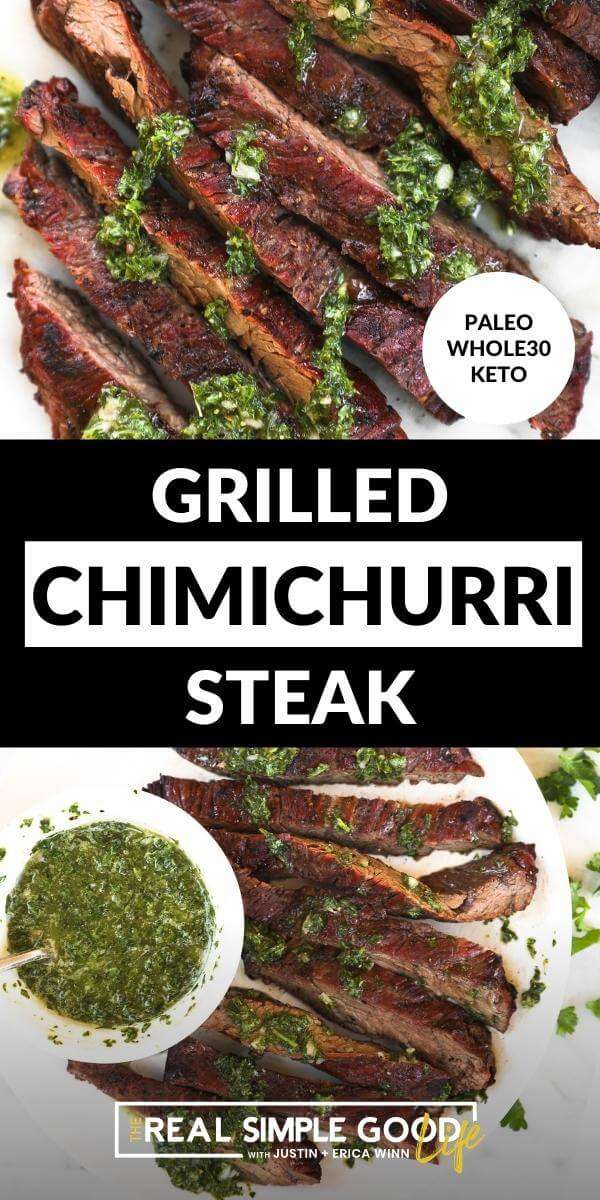 Split image with text in middle. Close up of sliced steak and sauce on top and steak on a plate with chimichurri sauce on bottom