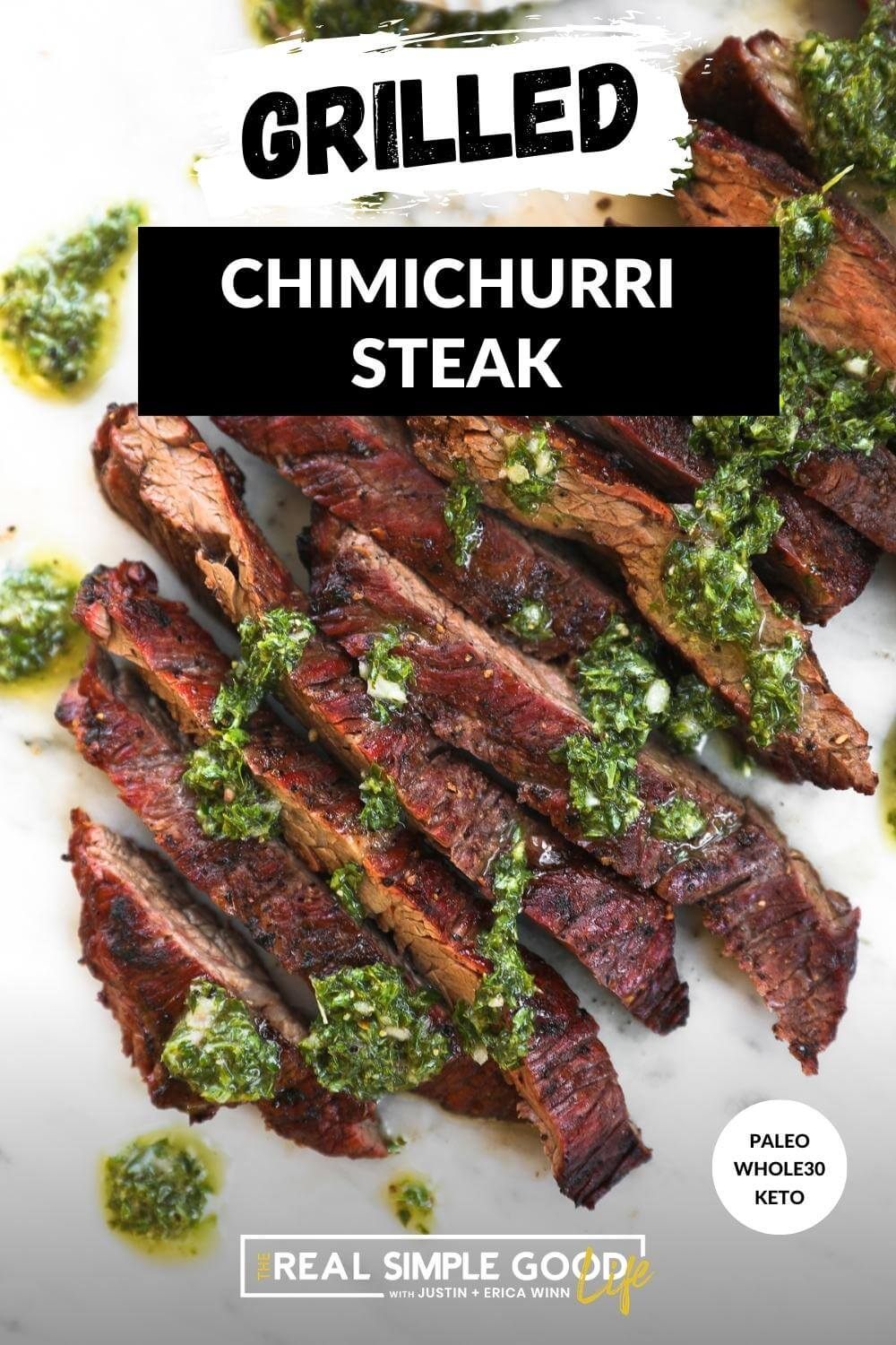 Image of sliced steak with chimichurri sauce and text overlay on top
