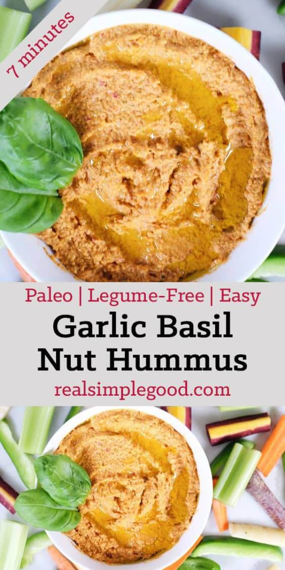 Invite some friends over, and make a batch of this garlic basil nut hummus! Get to dipping and enjoy a Paleo + Whole30 friendly version of a favorite snack! Paleo, Whole30 + Legume-Free.| realsimplegood.com