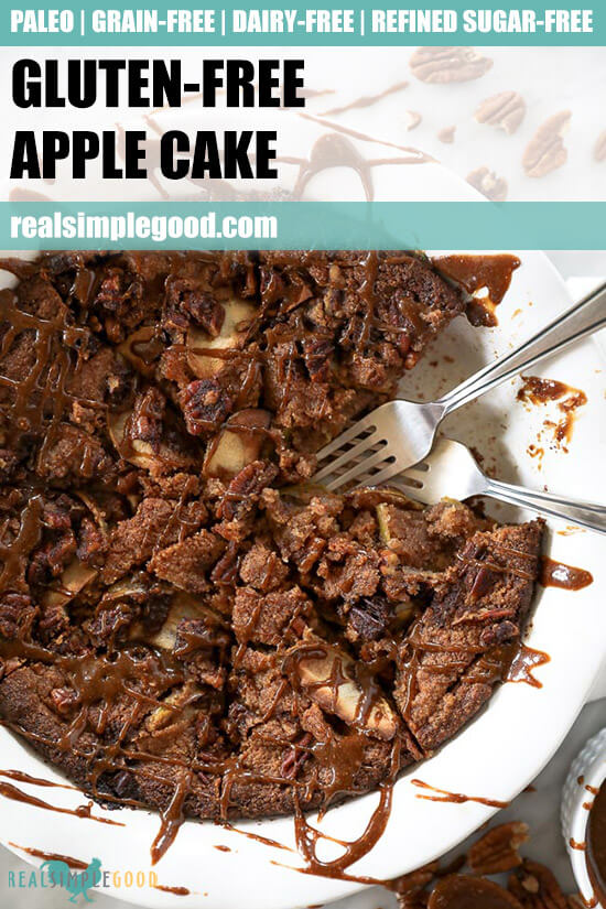 Close up of gluten-free apple cake with forks dug in and text overlay at the top.