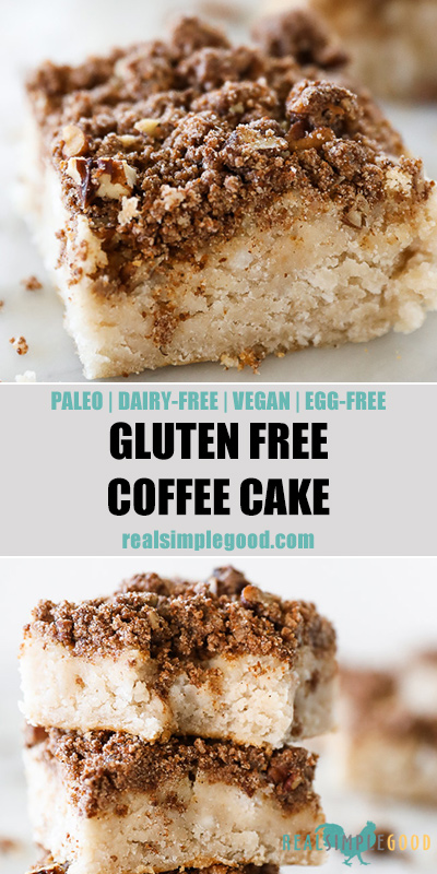 Two close up images of gluten free coffee cake with text overlay in the middle. Top image is a close up angled shot of one square. Bottom image is close up of stack of squares.