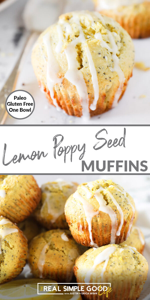Vertical split image with text overlay in the middle. Top image is close up of one lemon poppy seed muffin with glaze drizzled on top. Bottom image is muffins piled on a plate with glazed drizzled on top.