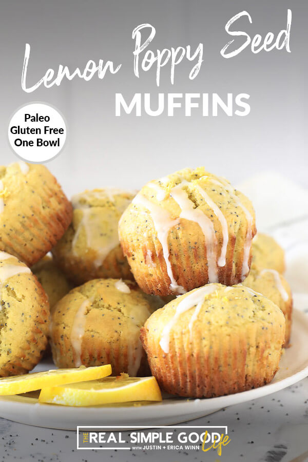 Vertical image with text overlay at top. Lemon poppy seed muffins piled on a plate with lemon glaze drizzled on top.