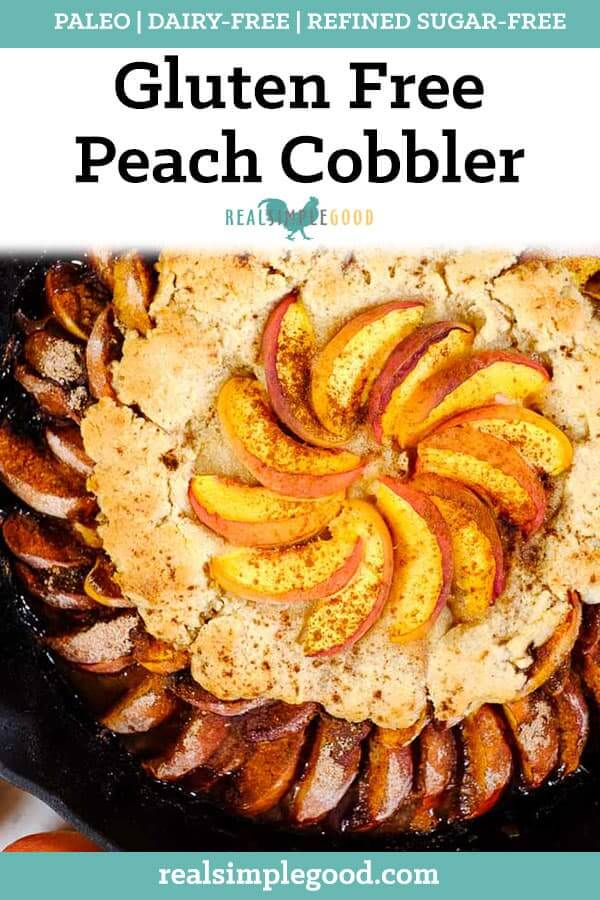 Gluten free peach cobbler in cast iron skillet long pin.
